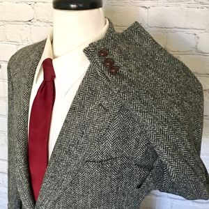 Harris Tweed Gray Herringbone Sport Coat Mens 40L